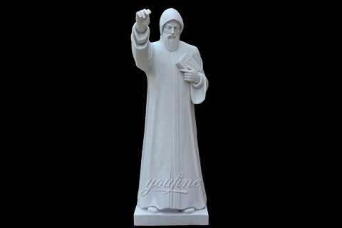 Outdoor Marble Religious Statue of St Charbel Sculpture for Sale Church Decor CHS-713