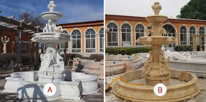 Custom Made 3 Tiered Yellow Marble Fountain With Figure Carving Outdoor Garden Fountain For Sale