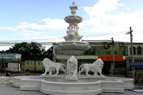 Grand white marble tiered water features with lion statues outdoor decor