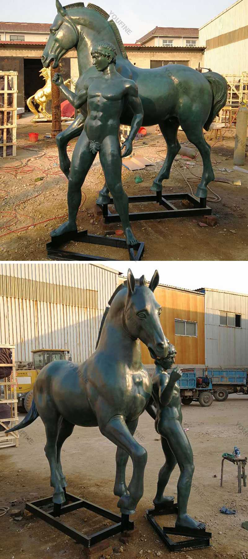 Life size bronze casting metal standing horse with nude man statues outdoor designs