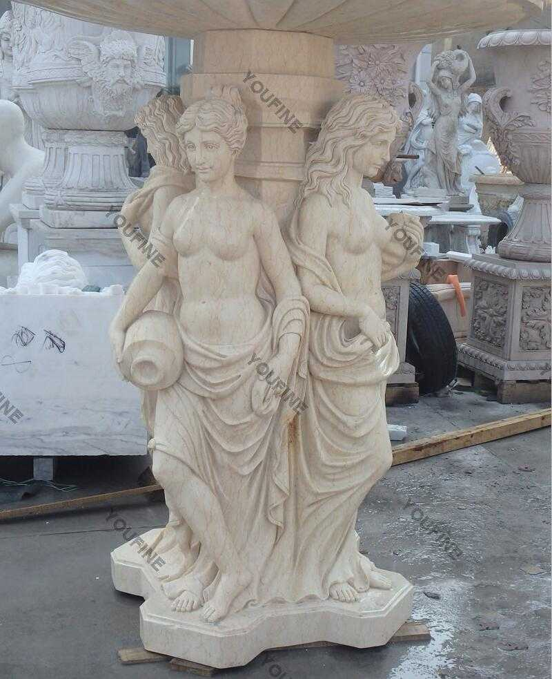 Marble angel water fountain with lion head statue