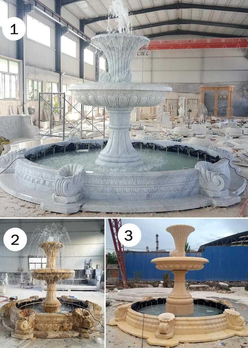 Outdoor 2 tiers white marble garden water fountain