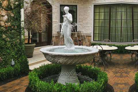 Yard decor marble water fountains with woman pouring water statues costs