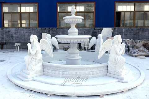 Outside Large Marble Water Fountain With Four Praying Angel Statues Manufacturer For Hotel Lobby MOK-808