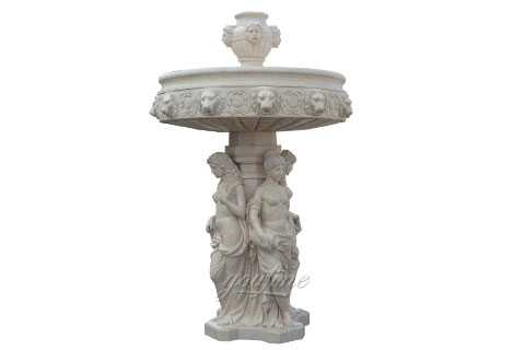 marble lady water fountain with lion head statue