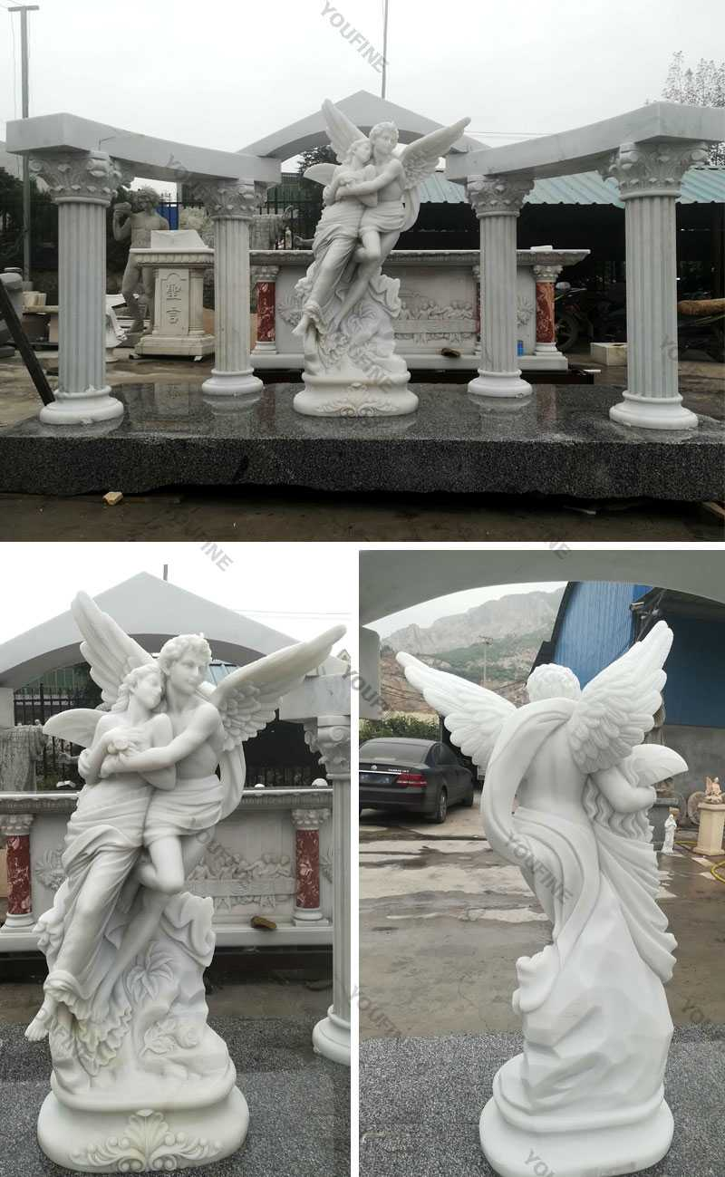 outdoor Marble Angel Apollo and Daphne tombstone headstone for Alice from France