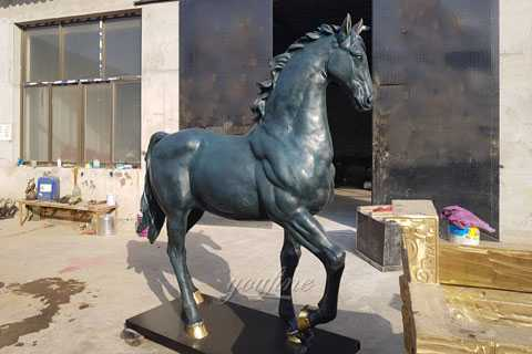 bronze green horse statue for garden as outside decor