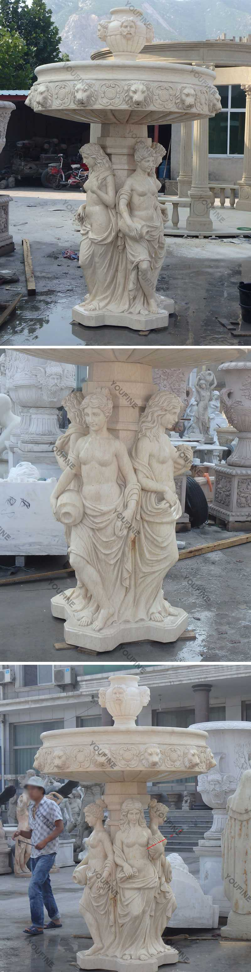 6 5 Ft Marble Angel Water Fountain With Lion Head Statue