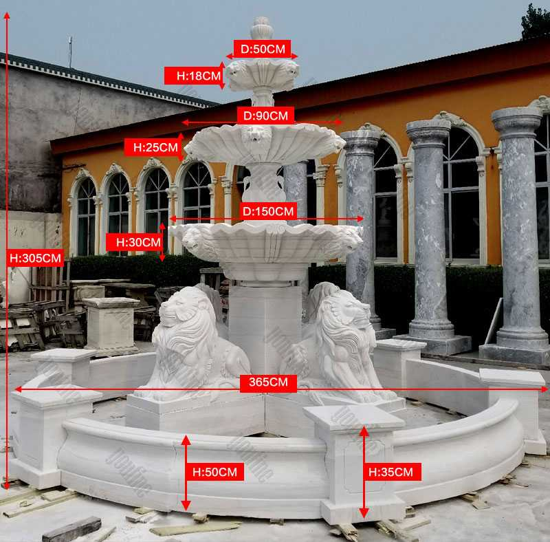 white marble fountain tiered patio outdoor with four lion statue design for sale