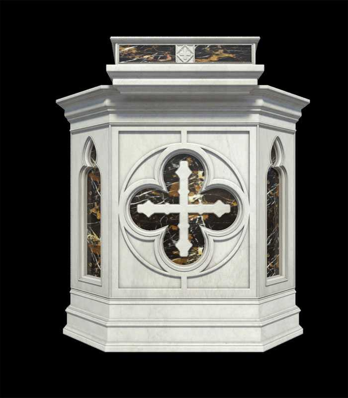Hand Carved Modern Church Pulpit Design in Natural White Marble CHS-358