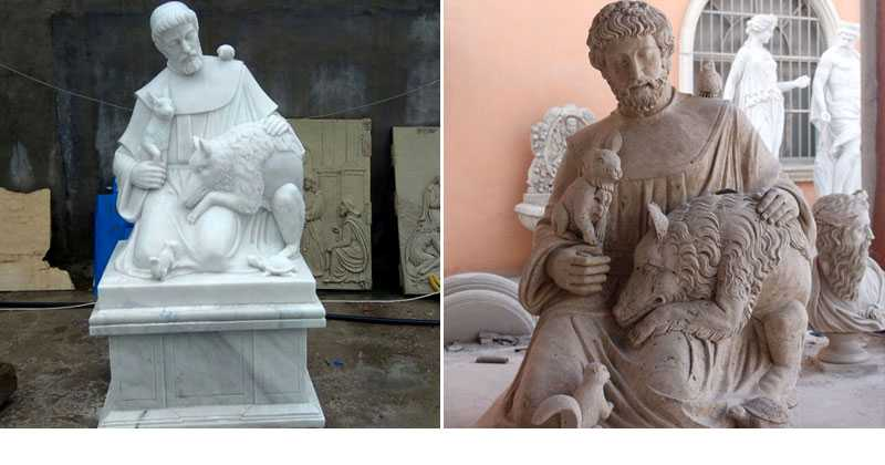 Catholic Factory Directly Supply Famous Religious Life Size Sculptures of St. Francis of Assisi with Animals Designs for Sale