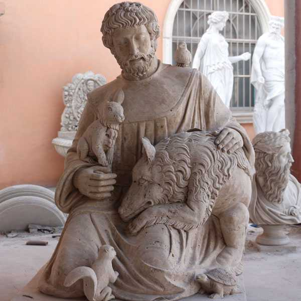 Catholic Factory Directly Supply Religious Life Size Sculptures of St. Francis of Assisi with Animals Statues Designs for Sales