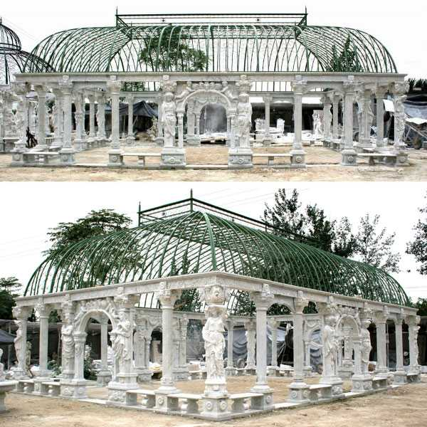 Grand classical Greek style white marble pavilion gazebo with elegant woman statue for wedding ceremony decoration