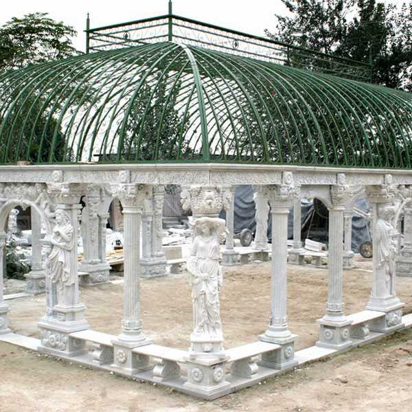 Grand classical greek style white marble pavilion gazebo with elegant woman statues for wedding ceremony decor