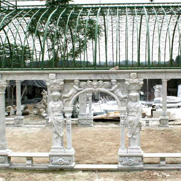Grand classical greek style white marble pavilion gazebos with elegant woman statues for wedding ceremony decoration