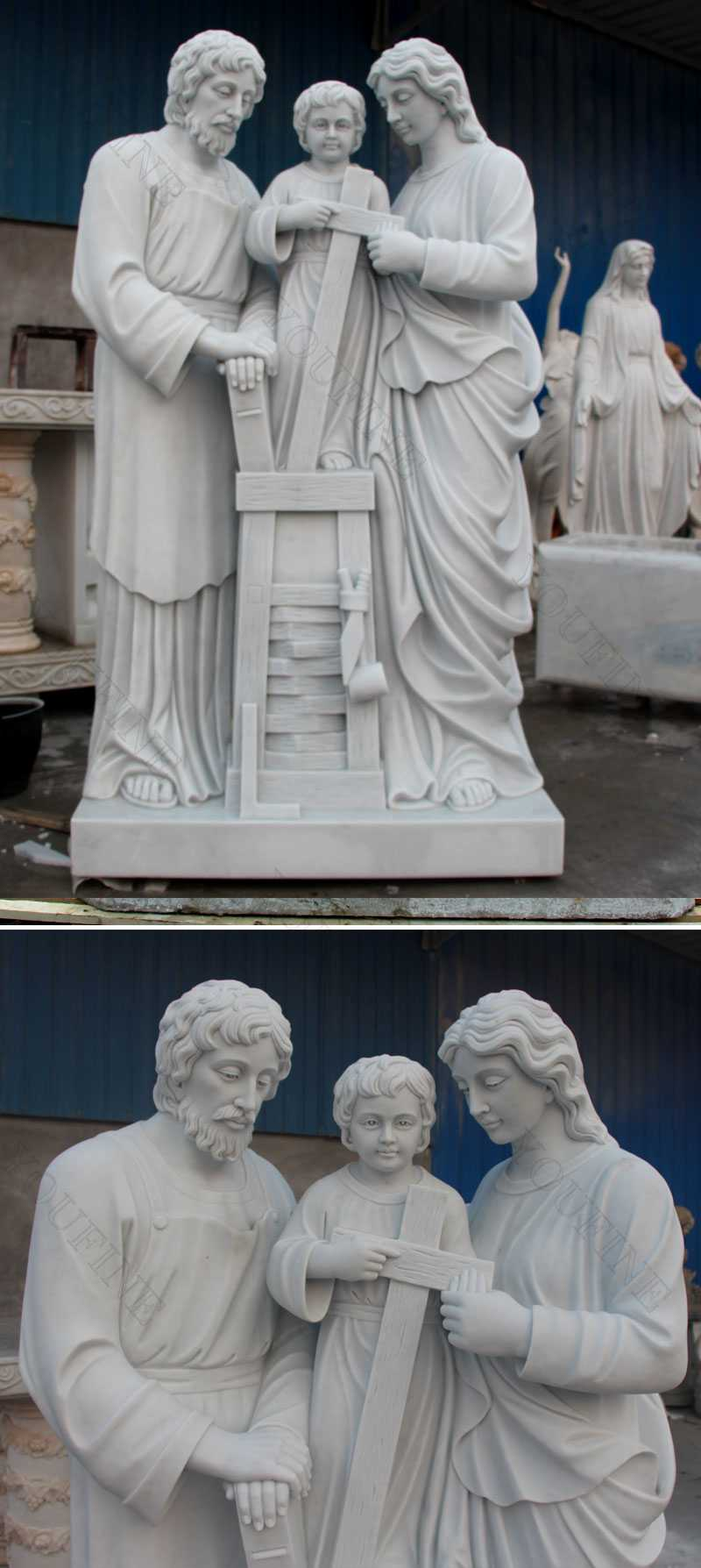Holy family of mary joseph and baby jesus statues details