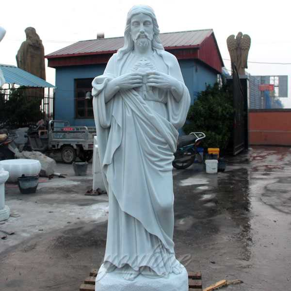 Full Size Sacred Heart Jesus Statues Made Of White Marble