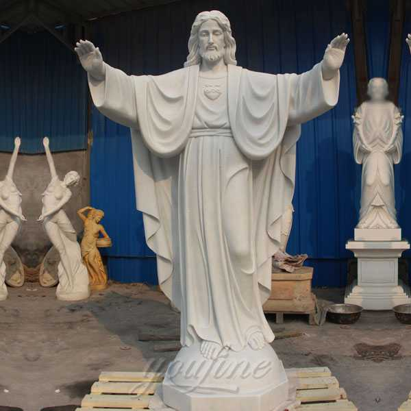 CHS-291 Full size sacred heart jesus statues made of white marble for sale