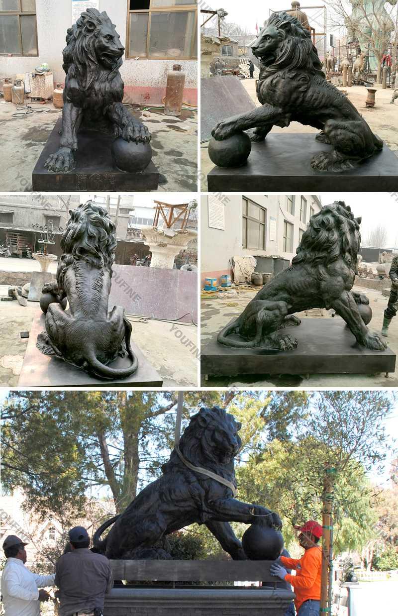 Life size bronze casting lion statues for garden decor