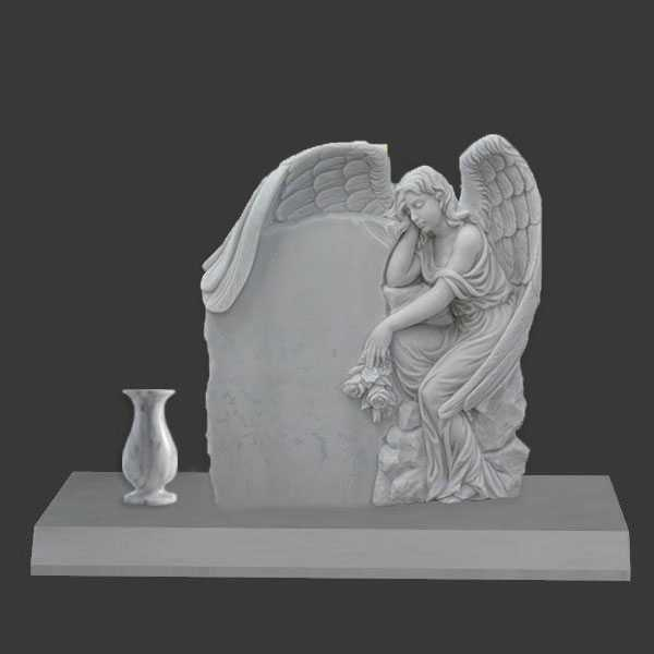 White Marble Angel Tombstone with Flower Pots Made for US Client MOKK-36
