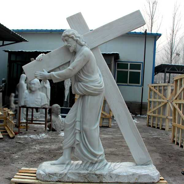 Catholic garden marble Jesus carrying cross statue for sale