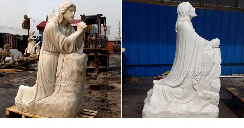 Outdoor Famous Life Size Catholic White Marble Kneeling Prayer Jesus Statue Statue for Sales