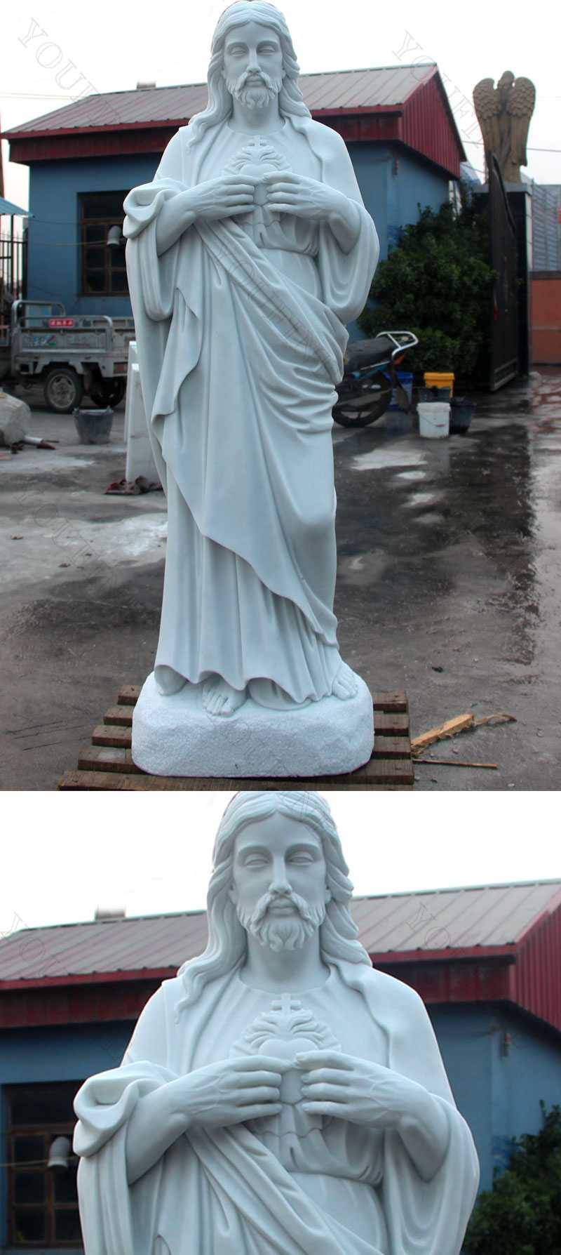 Outdoor Life Size Catholic Statue Sacred Heart Of Jesus Sculpture for Sales