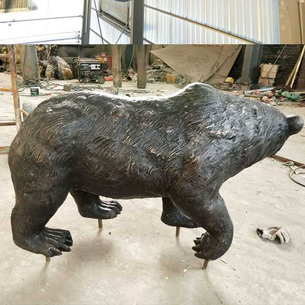 Outdoor animal statue life size antique bronze bear statue for sale for garden decor