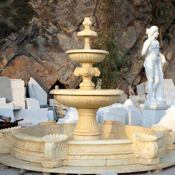 Outdoor hand carved garden life size two tiered pure white marble fountain for backyard decoration for sale