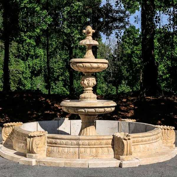 Outdoor hand carved garden life size two tiered pure white marble fountain for backyard decoration for sales