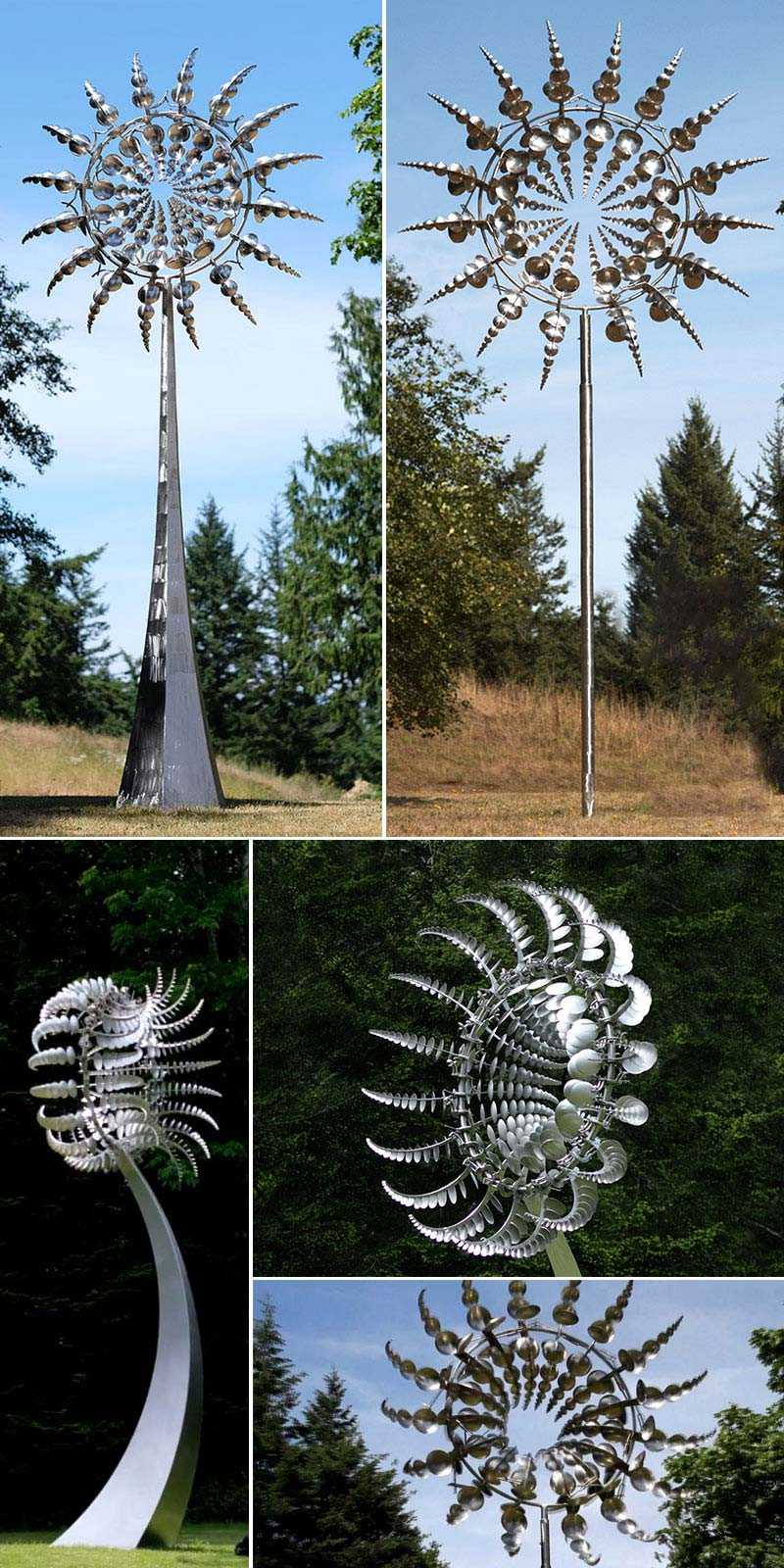 Outdoor stainless steel kinetic art sculpture by Anthony howe design details