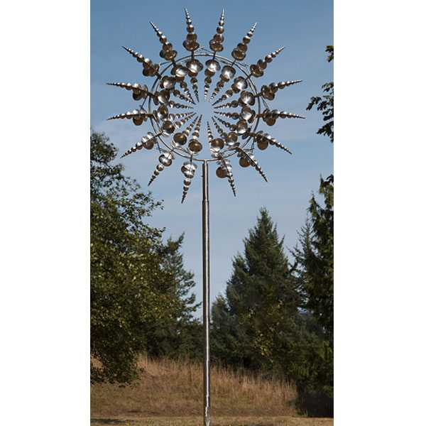 Outdoor stainless steel kinetic art sculpture by Anthony howe design