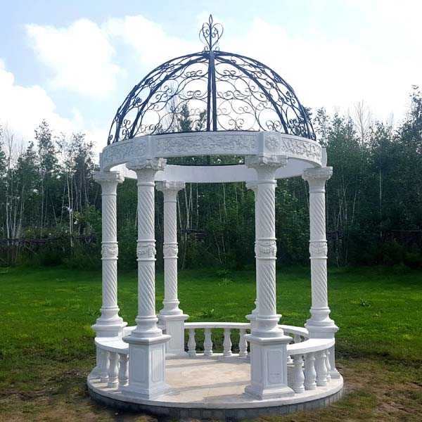 Popular outdoor garden ornament hand carved white stone marble gazebo for wedding ceremony decor for sale MOKK-35