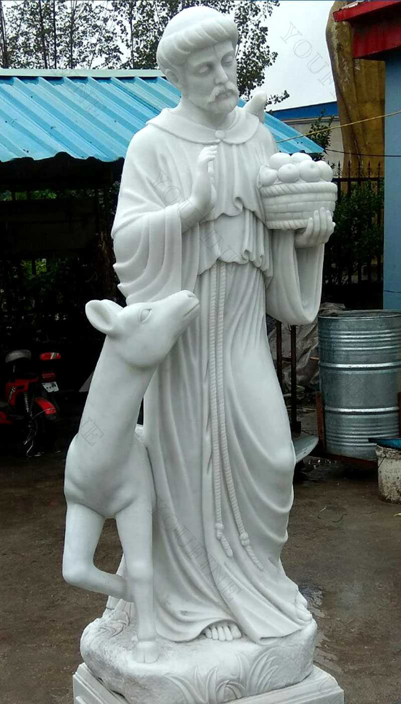 Religious life Size Sculptures of Catholic Figure St. Francis Garden Statue with Horse Design for Sales