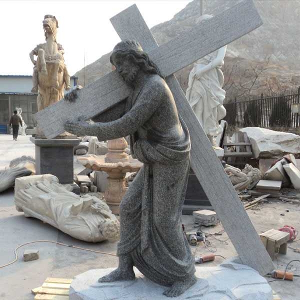Religious sculptures of jesus with cross for sale