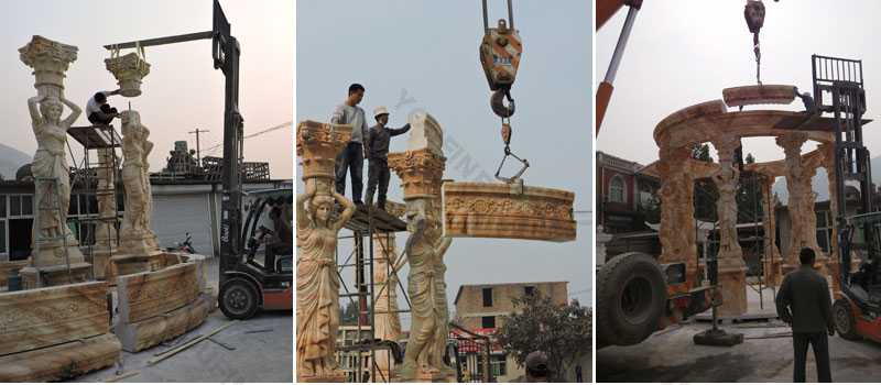 Trial installation of the marble pavilion