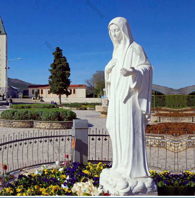 White Marble Our Lady Of Medjugorje Statue For Sale You Fine Sculpture