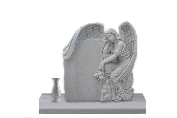White marble angel tombstone with flower pots for sale