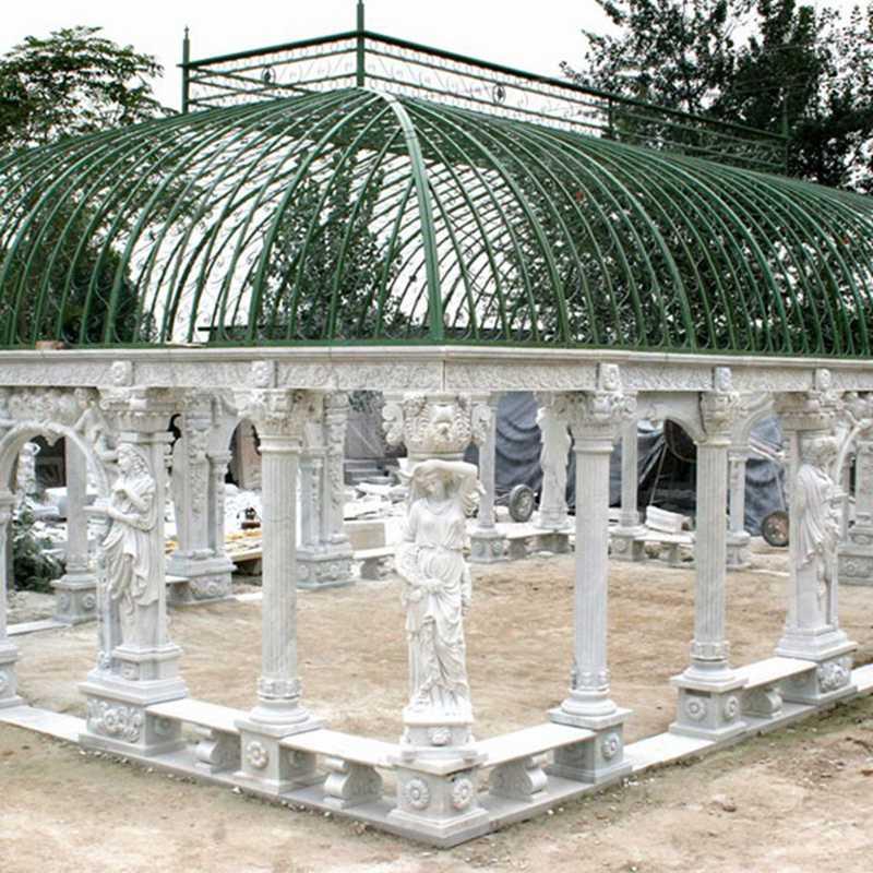 White stone gazebo on sale