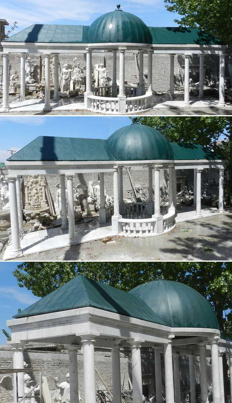 backyard outdoor custom made elegant white marble pavilion designs with railing and hardtop for sales