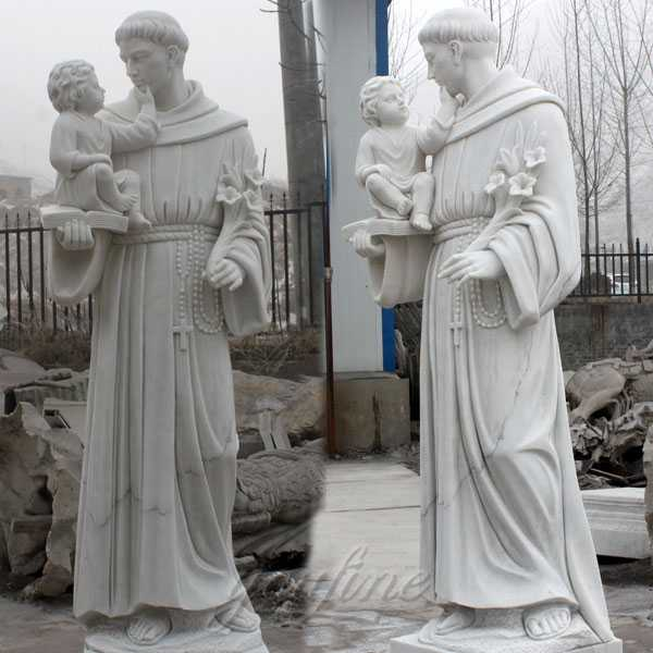 catholic manufacturer directly supply custom made catholic statue of Saint Anthony of Padua with infant Jesus marble statue designs