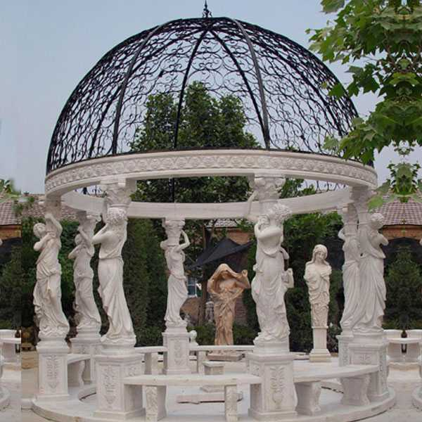 cheap high quality Egyptian beige marble pavilion gazebo designs for wedding ceremony decoration for sale