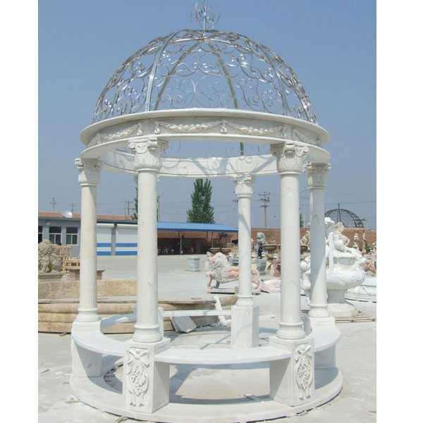 Cheap White Marble Gazebo with Iron Dome Netting Designs Wedding Decor for Sale MOKK-30