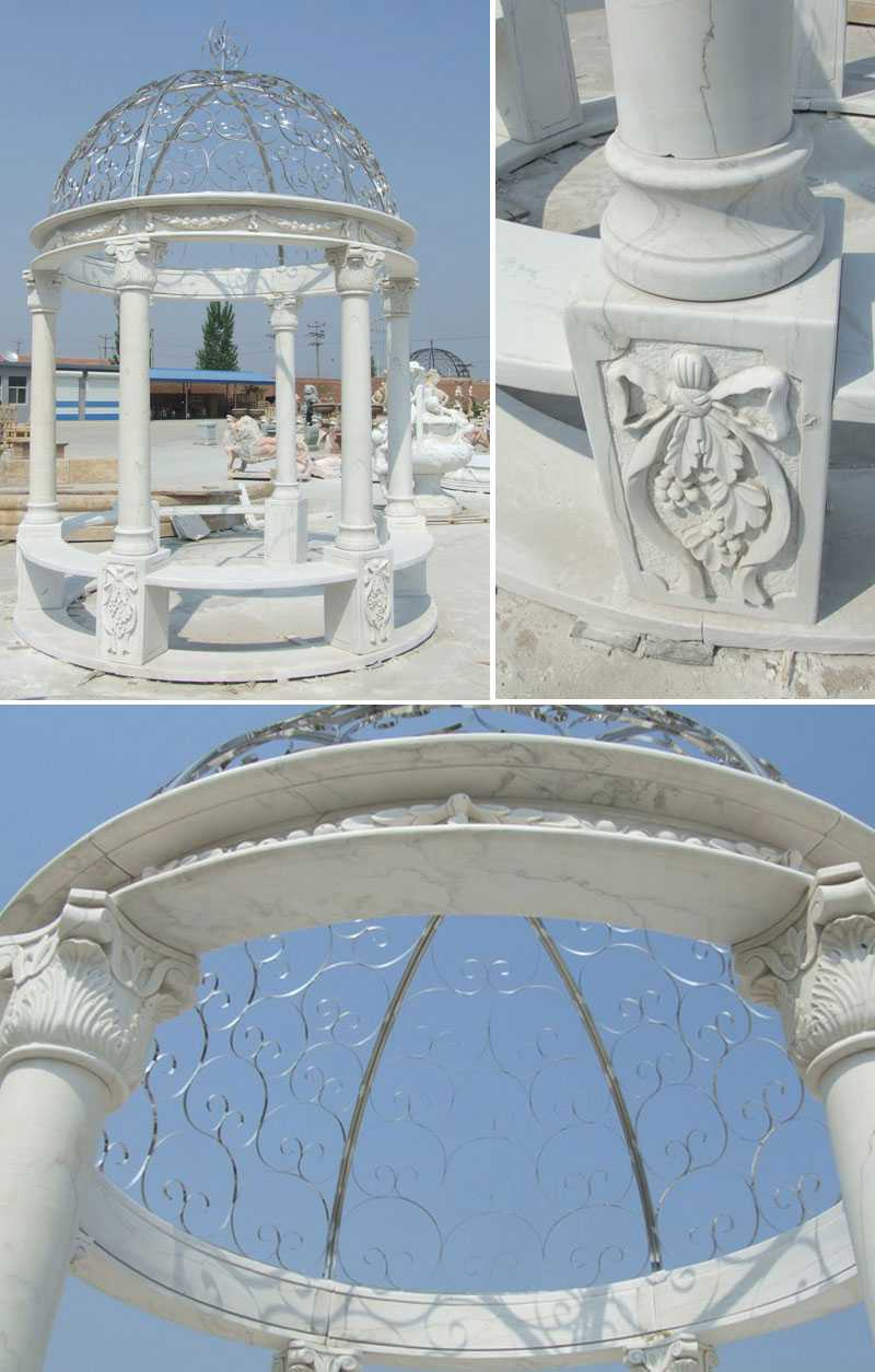 cheap home depot white marble gazebo with iron dome netting designs for wedding decoration for sale