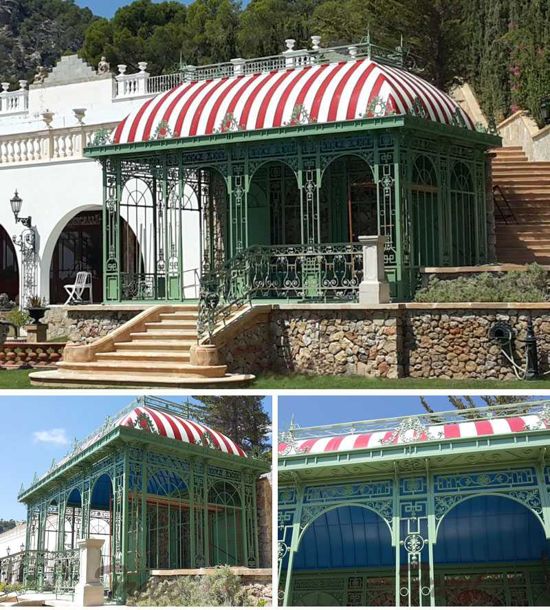 cheap metal greenhouse outdoor wrought iron gazebo designs for backyard for sale