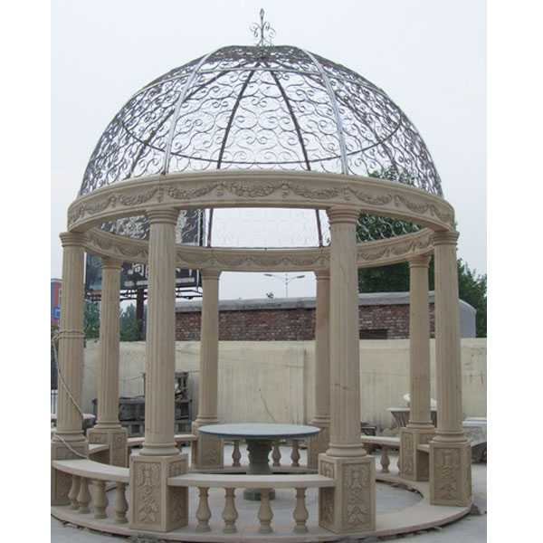custom small cheap yellow marble gazebo designs price with railing and beach for garden and font yard decor for sale