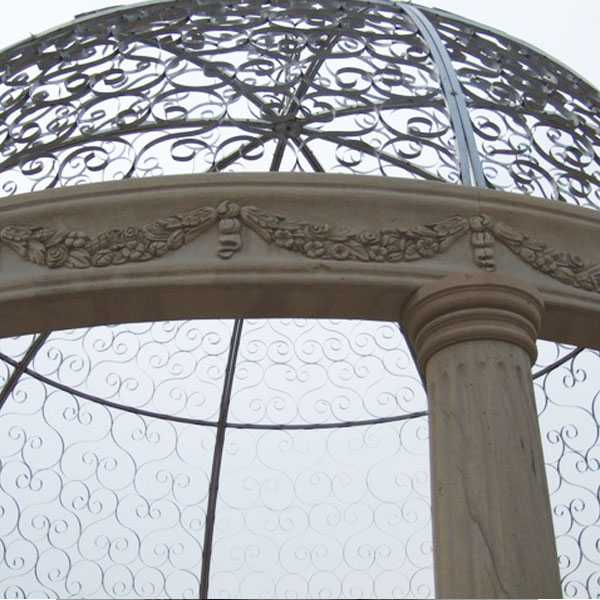 custom small cheap yellow marble gazebo designs with railing and beach for garden and font yard decor for sales