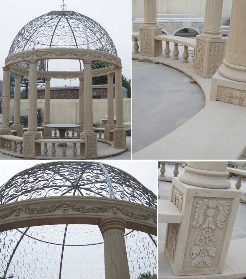 custom small cheap yellow marble gazebo designs with railing and beaches for garden and font yard decor for sale