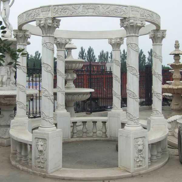 Hand Carved Outdoor White Marble Pavilion Gazebo Wedding Decor for Sale MOKK-26