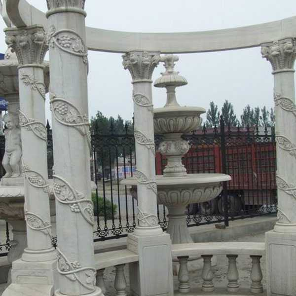 factory directly supply hand carved outdoor custom made white marble pavilion gazebo for wedding decoration for sale